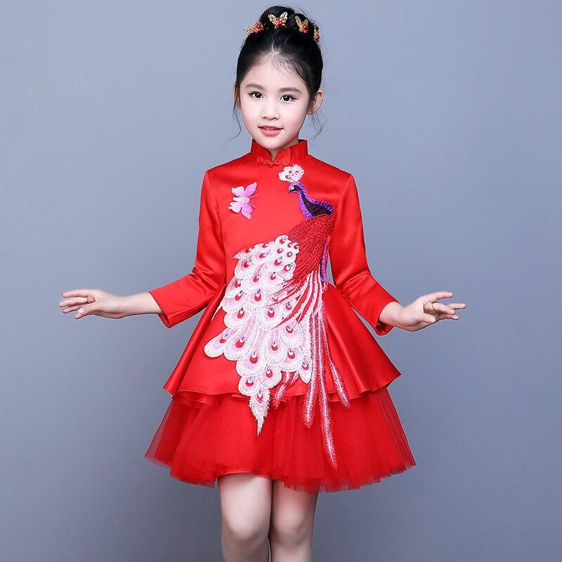 2017 autumn girls dresses children clothing red flowers princess casual cheongsam nice lace tutu dress kids clothes<br>