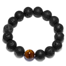 Luoty Tiger Eyes Stone Bead Bracelet Big Size 12mm Lava&Matte Stone Prayer Bracelet for Women Men Elastic Meditation Bracelets(China)
