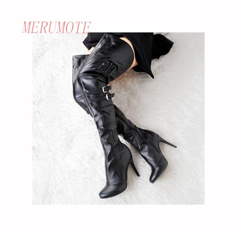 MERUMOTE Womens Over Knee High Soft PU Zipper Thin High Heel Buckle 2016 New Winter Short Plush Boots<br><br>Aliexpress