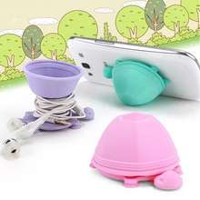 Turtle Holder Mount 2-in-1 Multifunctional Dual-head Silicone Suction Earphone Cable Headphone Cord Winder Wrap for Iphone Ipad