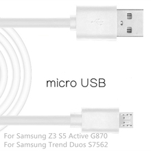 Micro USB2.0 Cable Mobile Phone For Samsung S5 Active G870 1m USB Data Charger Cable Sync For Samsung Galaxy Trend Duos S7562 Z3