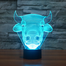 USB Lampara 7Colors Changed Touch Table Lamp Bull Cow bulb lamp Baby Sleeping Lamp 3D home Decor light Desk Light Creative Gifts