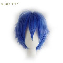 SNOILITE Synthetic Short Cosplay Wig Party Straight Hair Halloween Heat Resistant Full Wigs Dark Blue 11 colors(China)