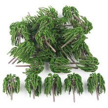 25pcs Lot Model Trees Willow Rail Garden Park River Road Scenery Train Layout Scale HO 1:100(China)
