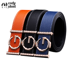 Cody Steel Smooth Buckle Mans Fashion Belt Luxury PU Leather Men's Belt Designer Brand Strap Belts For Male Buckle