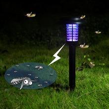 Hot Mosquito Killer Solar Power LED Lamp Outdoor Garden Yard Lawn Walkway Lamps Bug Insect Light Black Killing Pest(China)