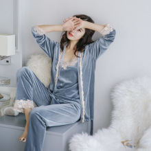 Women autumn winter fashion pajama set high grade velvet floral embroidery nighties bathrobe & pyjama set sexy nightwear(China)
