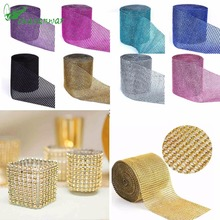 1 Yard/91.5cm Tulle Rolls Mesh Trim Bling Diamond Wrap Cake Tulle Roll Crystal Ribbons Party Wedding Decoration Party Supplies,Q(China)