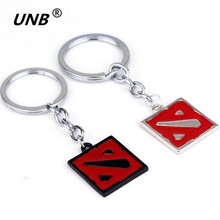 2016 Dota 2 Keychain Online Game Dota2 Classical Logo Square Shape Pendant Keyring 2 Colors Gift Keyring Keychains kids jewelry(China)