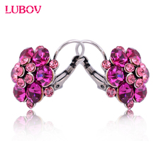 Gold Silver 7 Colors 2016 Lady Colorful Beads Lucky Rhinestones Ethnic Clip On Earrings For Women Statement Jewelry(China)