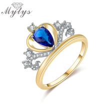 Mytys Blue Crystal Heart Shape Tiara Crown Ring GP Princess Royal Queen Party Jewelry for Female R1194