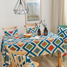 Colorful Geometric Patterns Tablecloth Suitable for Rectangle Table 100% Cotton Tablecloth for Dinning Room