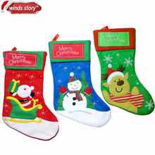 2 Pieces Thicken Christmas Stocking Decoration Santa Claus Snowman Deer Christmas Gift Candy Bag Indoor Xmas Decor Sock Discount(China)