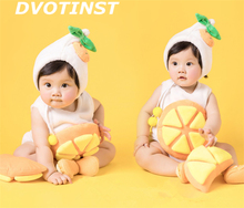 Dvotinst Newborn Baby Photography Props Fotografia Fruits Orange Hat+Bodysuit+Socks 2pcs Cosplay Plush Costume Studio Shoot Prop