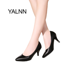 YALNN 7cm High Heel White Women Shoes Pumps Fashion Pointed Toe Leather Shoes Girls Black for Office Lady