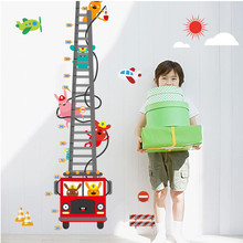 Cartoon Fire engine Height Measure Growth Chart Wall Stickers Pumper for kids Baby Boy Room Nursery Gift Vinyl Home Decor Decals(China)