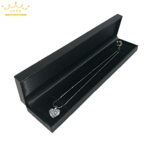 Jewelry Box Black Leather Pearl Necklace Packaging Organizer Cases Choker Display Box 22.8*5*2.5cm(China)