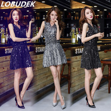 Dinner party female sexy dress costume fashion sleeveless sequin one piece formal prom stage wear nightclub bar performance show