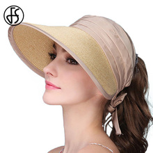FS 2017 Summer Beige Sun Hat For Women Wide Brim Floppy Straw Hats Leisure Gray Pink Purple Blue Beach Visor UV Protect Cap(China)