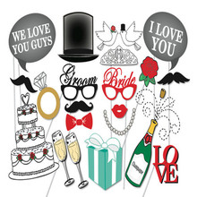 2017 NEW Wedding decor banner Photo booth Props Set 24 Piece Wedding GIFT supplies, engagement party, Bridal Shower,just married(China)