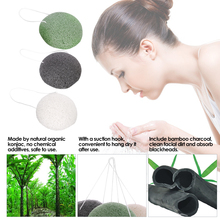 Konjac Facial Puff Natural Konnyaku Face Cleansing Wash Sponge Bamboo Charcoal Washing Cosmetic Puff Facial Cleaning Tool