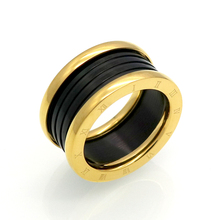 New Fashion Jewelry Top Quality Lovers Luxury Brands Rings 11MM Wedding Black Stainless Steel Solid Ring For Men And Women Party