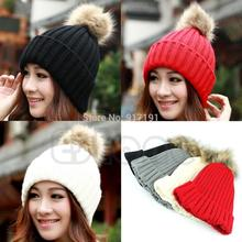 Vogue Women's Candy Beanie Knitted Caps Crochet Faux Raccoon Rabbit Fur Pompons ball hat Curling Ear Protect Women Beanies