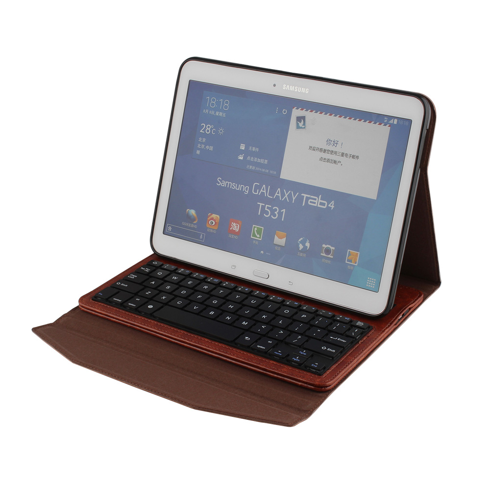New Retro Business Removable Leather Wireless Bluetooth  Keyboard Case Cover For Samsung Galaxy Tab 4 10.1 T530 T531 T535<br>