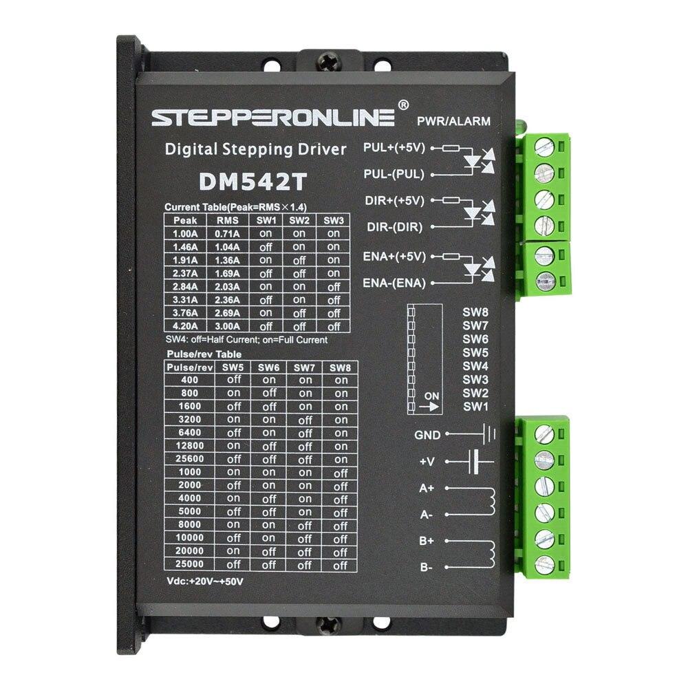 Stepper Motor Controller Leadshine DM542T Digital Stepper Motor Driver 1.0-4.2A 20-50VDC for Nema 17, 23, 24 Stepper Motor<br>