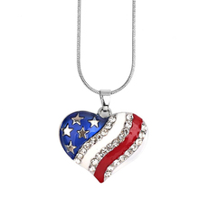 New Arrival Women's Fashion American USA Flag Pattern Necklace Heart Shape Pendant Jewelry