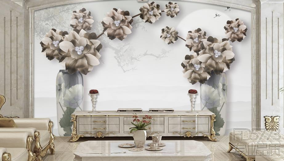 Customize 3D European Retro jewelry Flowers Bedroom TV Background Wall Paper Home Decor Living Room Non-woven Mural Wallpaper<br>