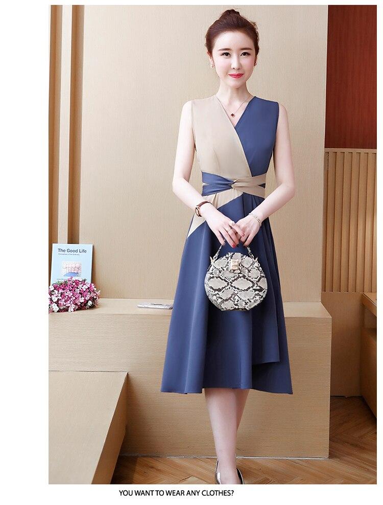 Women Sleeveless V-Neck Elegant Vintage Dress
