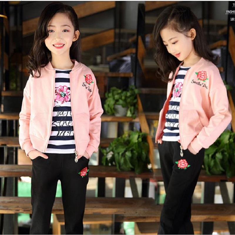 NICBUY brand 2018 new style, girl fashion three-piece suit, girl fashion, childrens sports suit,<br>