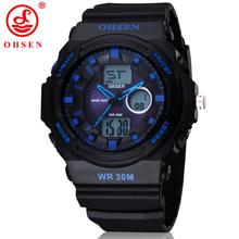 Ohsen AD1216 Men Sports Military Watches Brand Fashion Casual Wristwatch Men's Digital Watch (Blue) Hot Sale Male Good Product