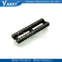 5pcs Round Hole 28 Pins 2.54MM DIP DIP28 IC Sockets Adaptor Solder Type 28 PIN 2.54 IC Connector