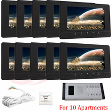 10 Units Apartment Color Video Door Phone Intercom System  IR Night Vision for 10 Units Apartment Suitable 10-Stories Building