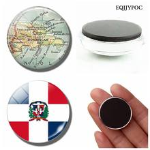 Dominican Republic Flag 30 MM Fridge Magnet Dominican Map Glass Dome Magnetic Refrigerator Stickers Note Holder Home Decoration(China)