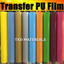 High quality transfer 50*100CM in 1 lot heat transfer PU film by free shipping,PU transfer vinyl heat transfer pu film