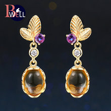 Bwell Elegant Plant Natrual Gemstone Citrine Drop/Dangle Earring 925 Sterling Silver 14K Yellow Gold Plated Leaf Jewelry BWEI007