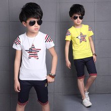 Children's Suits Summer Models Big Children's Wear Short Sleeves T Shirt +pant Cotton Boys Casual Sport Suits 4-14 Ages(China)