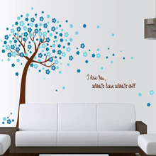 romantic peach pink blue flower tree home decor wall stickers living room TV background flora decal LOVE quote wedding mural art
