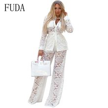 9d0f52a1144 FUDA Two piece Long Sleeve Sexy Sheer White Lace Jumpsuit Bodysuit Women  See Through Party Club Wear Bodycon Jumpsuit Rompers