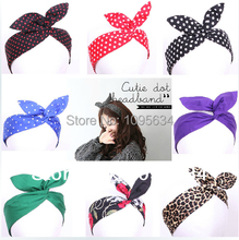 free shipping Retro Wire Headband Head Hair Band Head Wrap Polka Dot Rockabilly Bunny Ears many colors