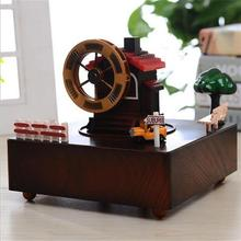 European Style Wooden Music Box with small wood cabin and Yellow taxi Car Driving
