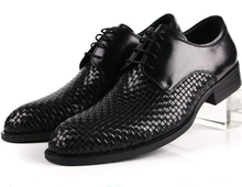 Fashion woven design checkered black mens dress shoes genuine leather business shoes mens wedding shoes