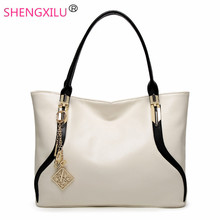 Shengxilu sequined women bags european american fashion ladies shoulder bags white leather female totes big brand handbag