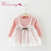 WEIXINBUY Autumn Kid Girls Christmas Dress Knitting Lace Patchwork Party Princess Girls Dresses vestido infantil(China)