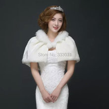 Winter faux fur wrap Poncho 2015 New Bride Shawl Prom Wedding dress Accessories Red Ivory Bridal Cocktail Party Cape coat