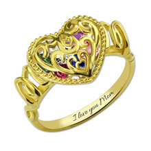 Customized Engraved MOM Heart Cage Birthstones Ring Gold Color Fashion Women Jewelry