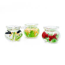 INJORA 1 PCS 1:12 Dollhouse 3 Color Miniature Accessories Pets Greenery Goldfish Bowl Fish Tank  for Doll House